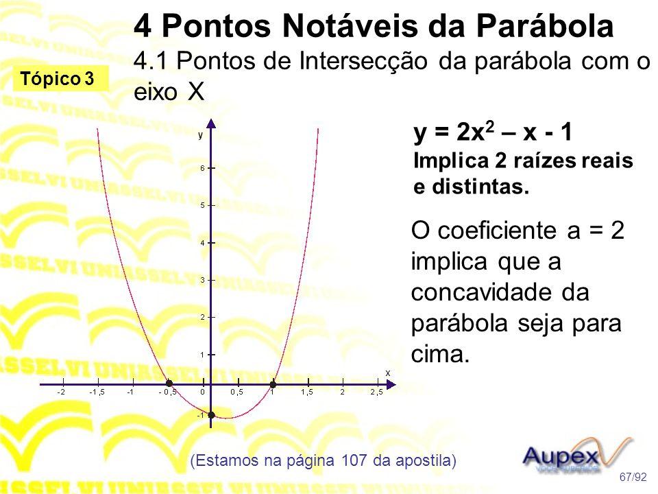 4 Pontos Notáveis da Parábola 4.1 Pontos de Intersecção da parábola com o eixo X (Estamos na página 107 da apostila) 67/92 Tópico 3 y = 2x 2 – x - 1 Implica 2 raízes reais e distintas.