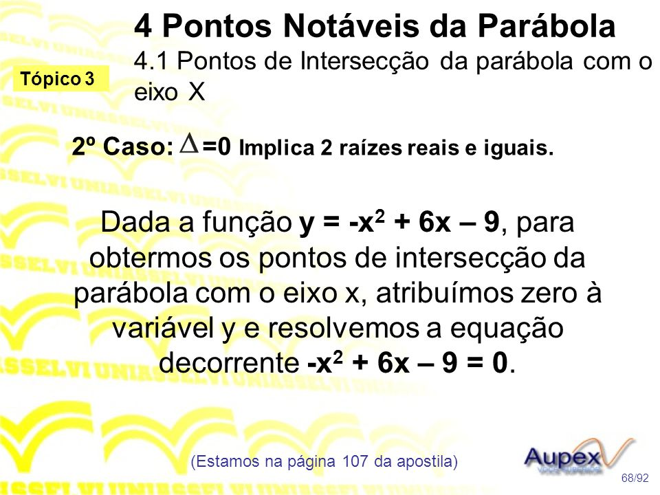 2º Caso: =0 Implica 2 raízes reais e iguais.