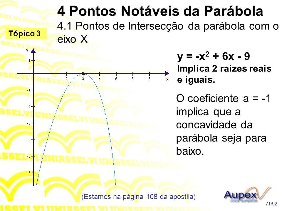 4 Pontos Notáveis da Parábola 4.1 Pontos de Intersecção da parábola com o eixo X (Estamos na página 108 da apostila) 71/92 Tópico 3 y = -x 2 + 6x - 9 Implica 2 raízes reais e iguais.