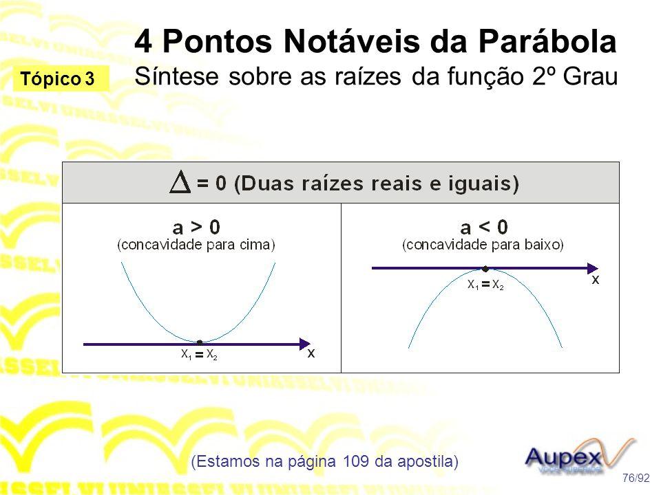 4 Pontos Notáveis da Parábola Síntese sobre as raízes da função 2º Grau (Estamos na página 109 da apostila) 76/92 Tópico 3
