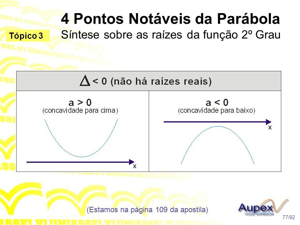 4 Pontos Notáveis da Parábola Síntese sobre as raízes da função 2º Grau (Estamos na página 109 da apostila) 77/92 Tópico 3
