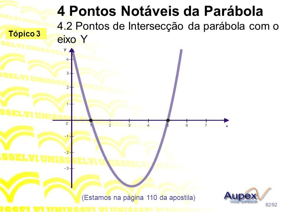 4 Pontos Notáveis da Parábola 4.2 Pontos de Intersecção da parábola com o eixo Y (Estamos na página 110 da apostila) 82/92 Tópico 3