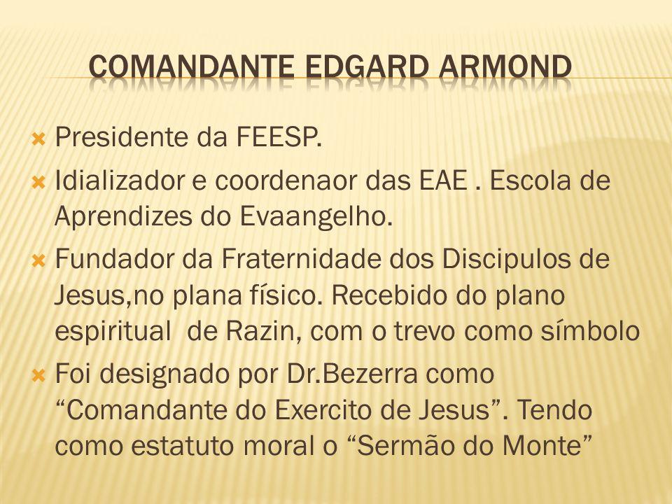  Presidente da FEESP.  Idializador e coordenaor das EAE. Escola de Aprendizes do Evaangelho.  Fundador da Fraternidade dos Discipulos de Jesus,no p