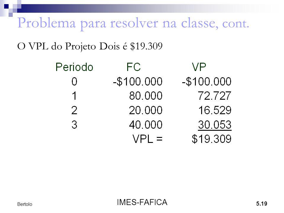 5.19 IMES-FAFICA Bertolo Problema para resolver na classe, cont. O VPL do Projeto Dois é $19.309