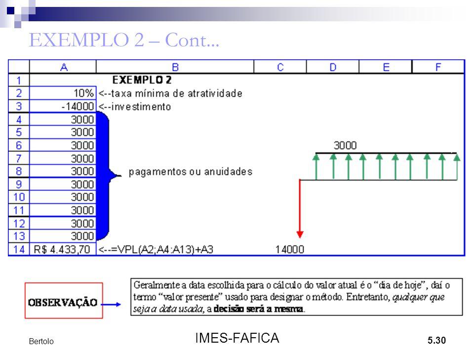5.30 IMES-FAFICA Bertolo EXEMPLO 2 – Cont...