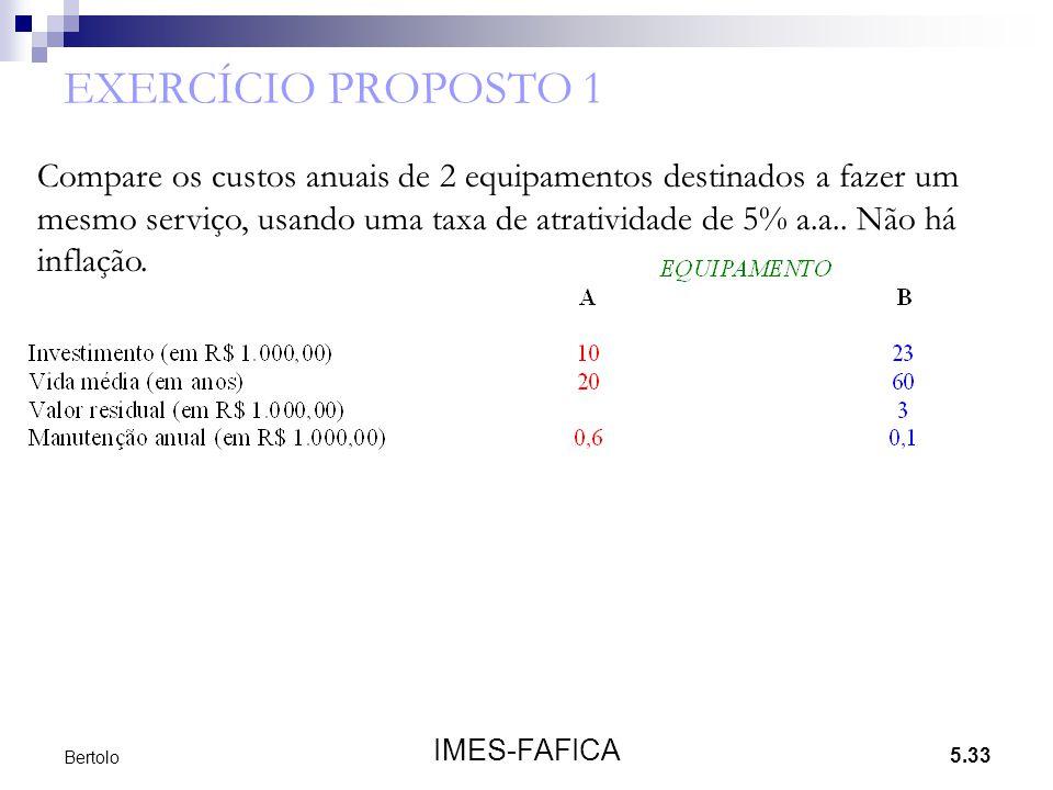 5.33 IMES-FAFICA Bertolo EXERCÍCIO PROPOSTO 1 Compare os custos anuais de 2 equipamentos destinados a fazer um mesmo serviço, usando uma taxa de atrat
