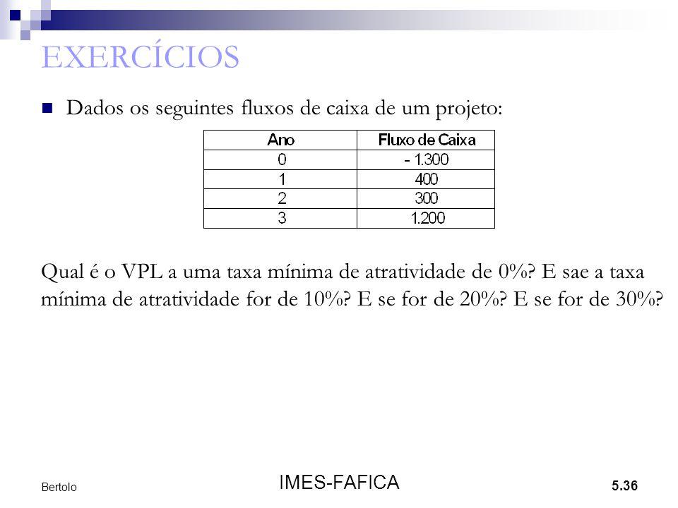 5.36 IMES-FAFICA Bertolo EXERCÍCIOS  Dados os seguintes fluxos de caixa de um projeto: Qual é o VPL a uma taxa mínima de atratividade de 0%? E sae a