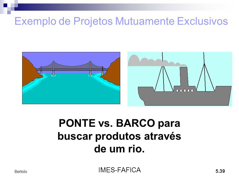 5.39 IMES-FAFICA Bertolo Exemplo de Projetos Mutuamente Exclusivos PONTE vs. BARCO para buscar produtos através de um rio.