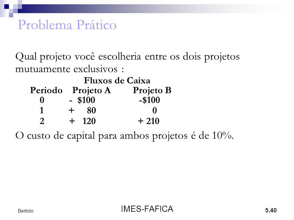 5.40 IMES-FAFICA Bertolo Problema Prático Qual projeto você escolheria entre os dois projetos mutuamente exclusivos : Fluxos de Caixa Periodo Projeto