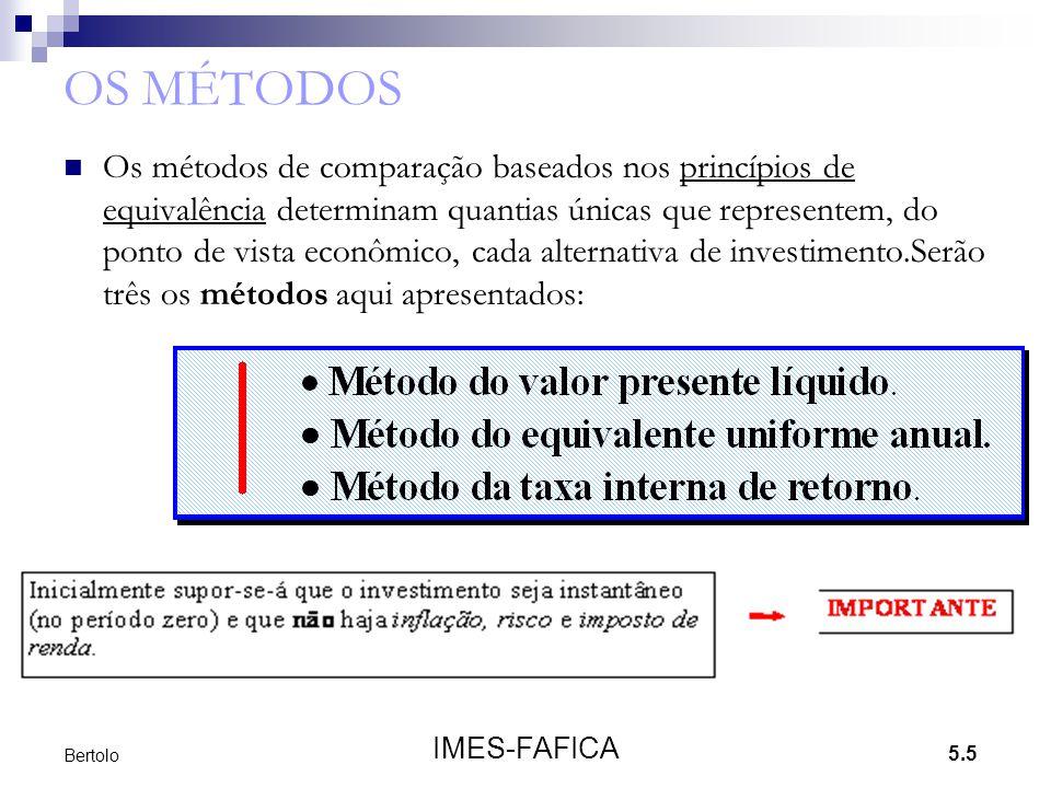 5.5 IMES-FAFICA Bertolo OS MÉTODOS  Os métodos de comparação baseados nos princípios de equivalência determinam quantias únicas que representem, do p