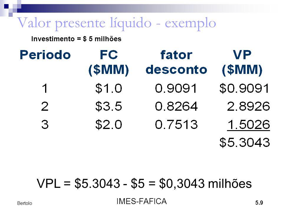 5.9 IMES-FAFICA Bertolo Valor presente líquido - exemplo VPL = $5.3043 - $5 = $0,3043 milhões Investimento = $ 5 milhões