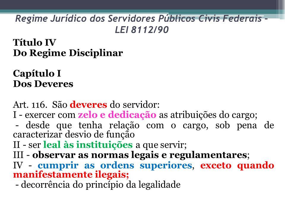 Regime Jurídico dos Servidores Públicos Civis Federais – LEI 8112/90 Título IV Do Regime Disciplinar Capítulo I Dos Deveres Art. 116. São deveres do s