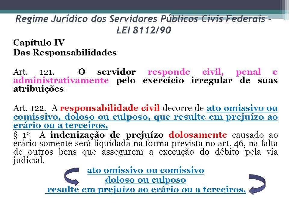 Regime Jurídico dos Servidores Públicos Civis Federais – LEI 8112/90 Capítulo IV Das Responsabilidades Art. 121. O servidor responde civil, penal e ad
