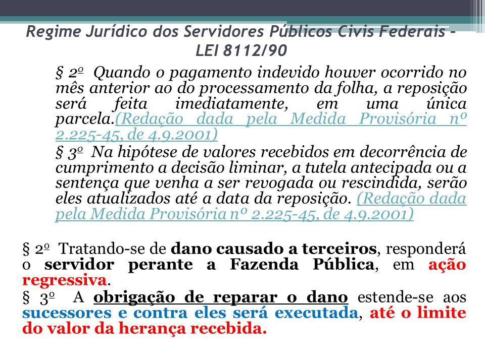 Regime Jurídico dos Servidores Públicos Civis Federais – LEI 8112/90 § 2 o Quando o pagamento indevido houver ocorrido no mês anterior ao do processam
