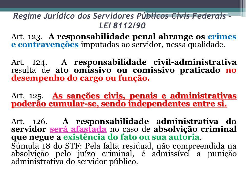 Regime Jurídico dos Servidores Públicos Civis Federais – LEI 8112/90 Art. 123. A responsabilidade penal abrange os crimes e contravenções imputadas ao