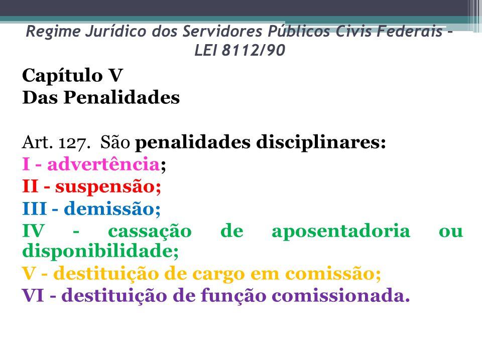 Regime Jurídico dos Servidores Públicos Civis Federais – LEI 8112/90 Capítulo V Das Penalidades Art. 127. São penalidades disciplinares: I - advertênc