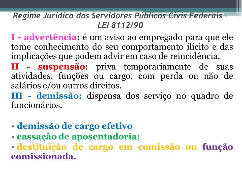 Regime Jurídico dos Servidores Públicos Civis Federais – LEI 8112/90 I - advertência: é um aviso ao empregado para que ele tome conhecimento do seu co