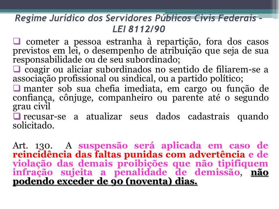 Regime Jurídico dos Servidores Públicos Civis Federais – LEI 8112/90  cometer a pessoa estranha à repartição, fora dos casos previstos em lei, o dese