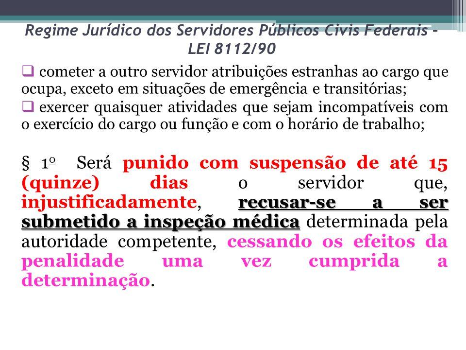 Regime Jurídico dos Servidores Públicos Civis Federais – LEI 8112/90  cometer a outro servidor atribuições estranhas ao cargo que ocupa, exceto em si