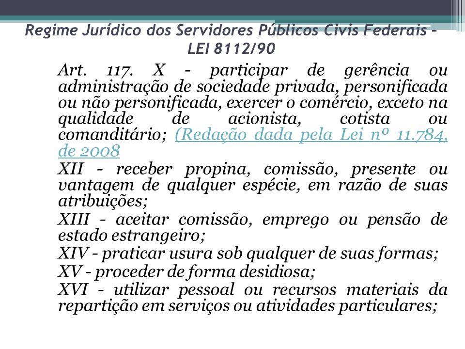 Regime Jurídico dos Servidores Públicos Civis Federais – LEI 8112/90 Art. 117. X - participar de gerência ou administração de sociedade privada, perso