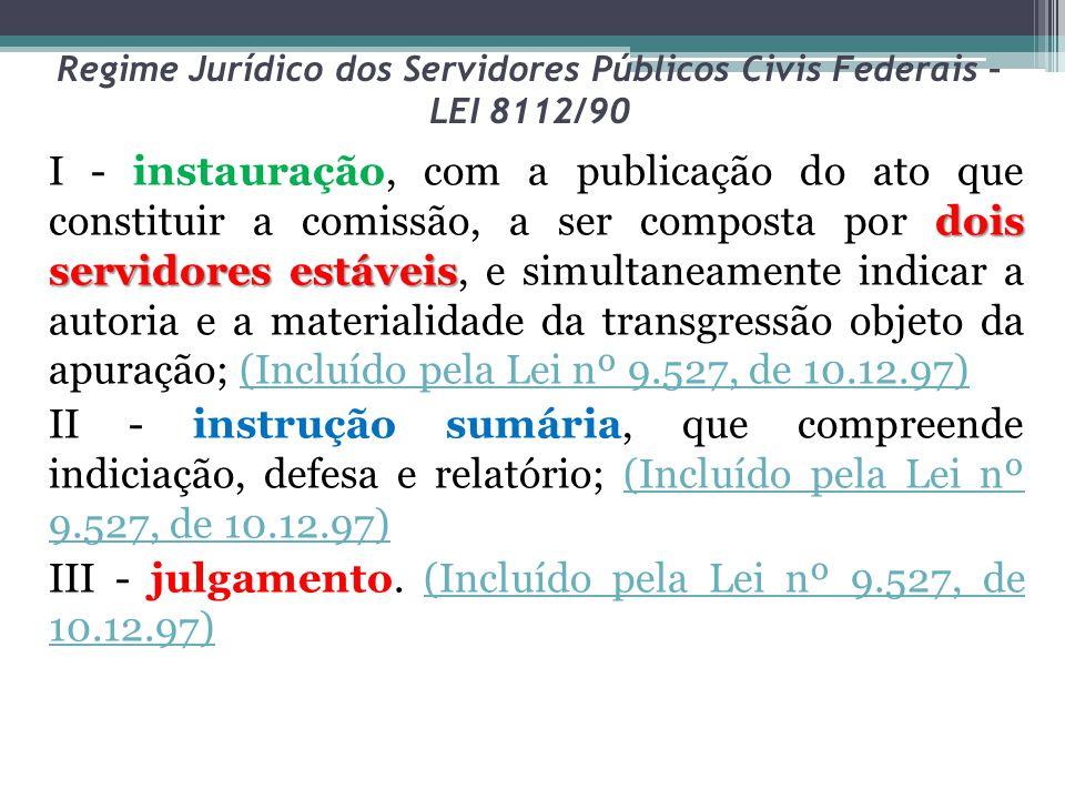 Regime Jurídico dos Servidores Públicos Civis Federais – LEI 8112/90 dois servidores estáveis I - instauração, com a publicação do ato que constituir