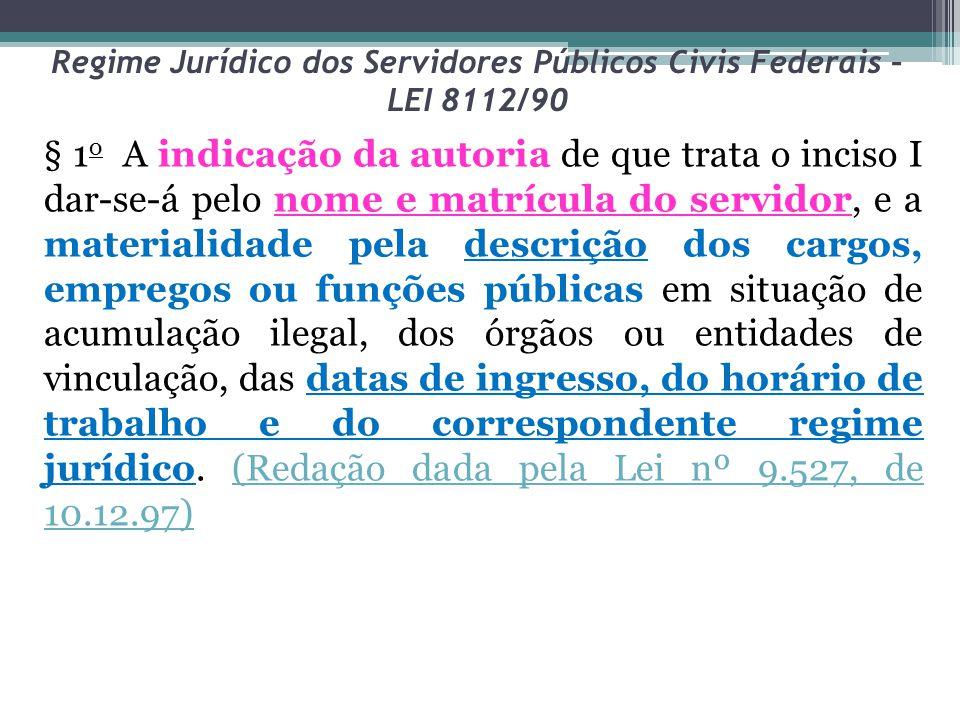 Regime Jurídico dos Servidores Públicos Civis Federais – LEI 8112/90 § 1 o A indicação da autoria de que trata o inciso I dar-se-á pelo nome e matrícu