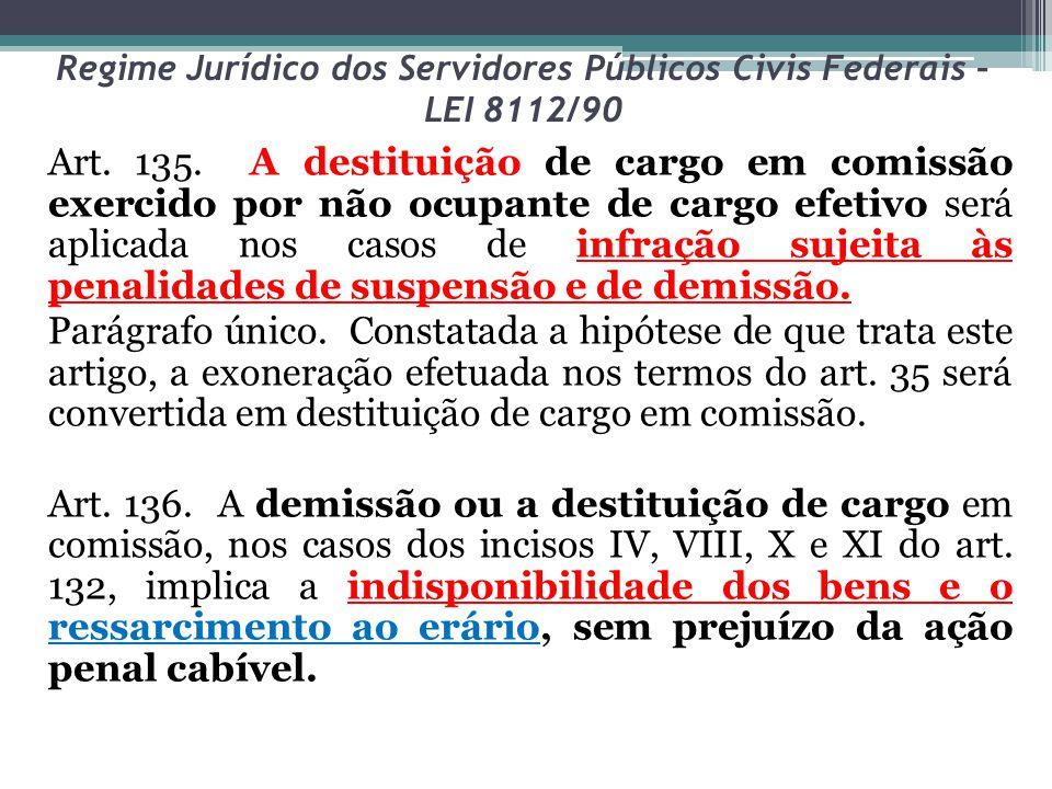 Regime Jurídico dos Servidores Públicos Civis Federais – LEI 8112/90 Art. 135. A destituição de cargo em comissão exercido por não ocupante de cargo e