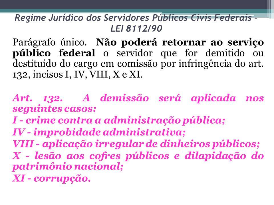 Regime Jurídico dos Servidores Públicos Civis Federais – LEI 8112/90 Parágrafo único. Não poderá retornar ao serviço público federal o servidor que fo