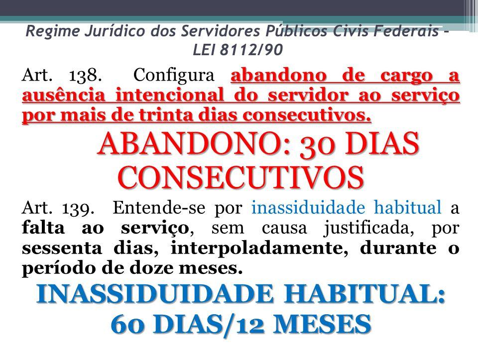 Regime Jurídico dos Servidores Públicos Civis Federais – LEI 8112/90 abandono de cargo a ausência intencional do servidor ao serviço por mais de trint