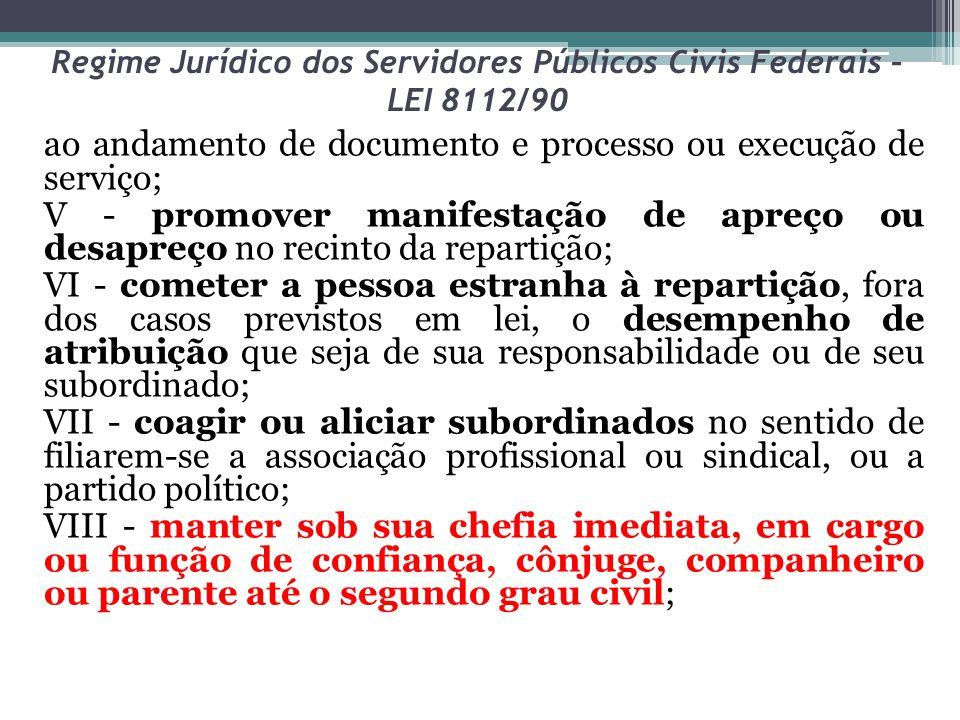 Regime Jurídico dos Servidores Públicos Civis Federais – LEI 8112/90 ao andamento de documento e processo ou execução de serviço; V - promover manifes