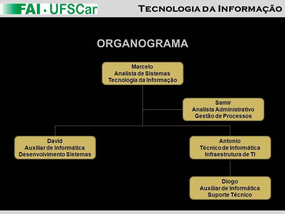 Tecnologia da Informação ORGANOGRAMA Marcelo Analista de Sistemas Tecnologia da Informação Samir Analista Administrativo Gestão de Processos Diogo Aux