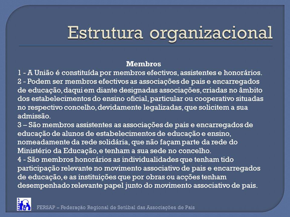 FERSAP – Federação Regional de Setúbal das Associações de Pais Membros 1 - A União é constituída por membros efectivos, assistentes e honorários.