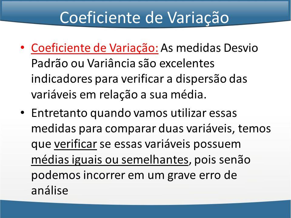 Coeficiente de Variação • Coeficiente de Variação: As medidas Desvio Padrão ou Variância são excelentes indicadores para verificar a dispersão das variáveis em relação a sua média.