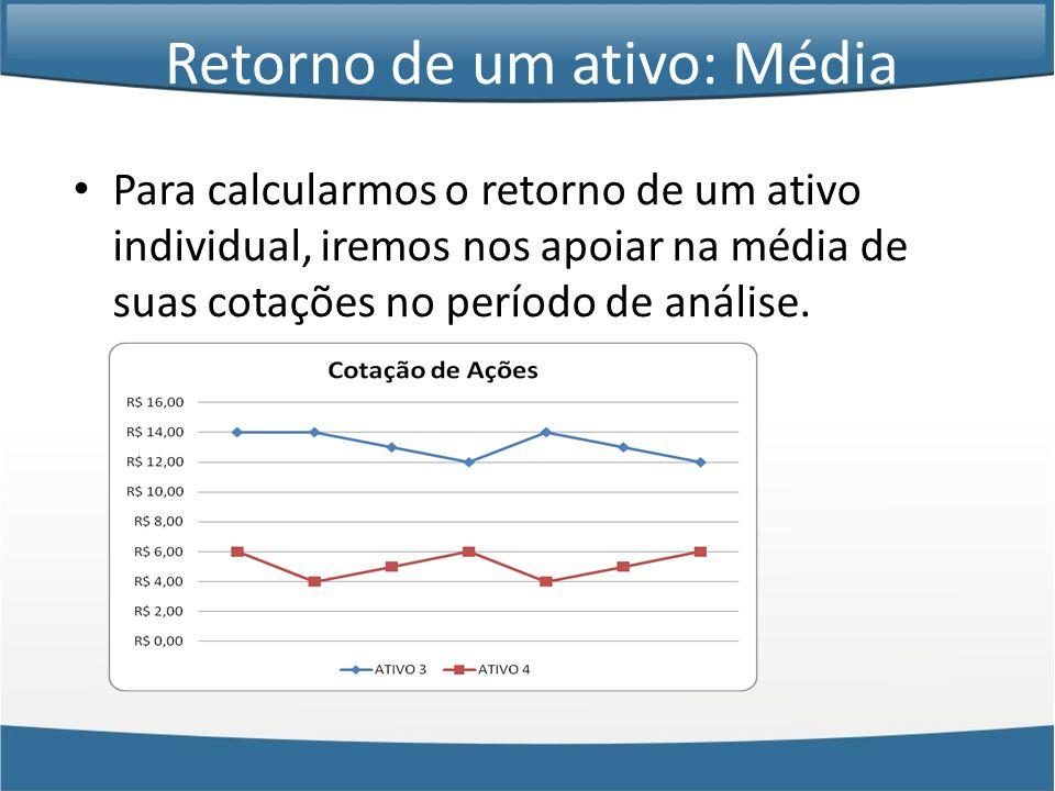 Retorno de um ativo: Média • Para calcularmos o retorno de um ativo individual, iremos nos apoiar na média de suas cotações no período de análise.