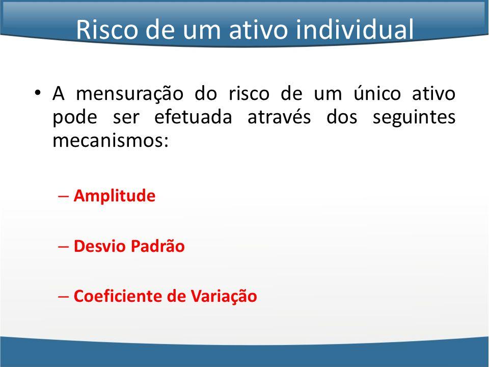 Risco de um ativo individual • A mensuração do risco de um único ativo pode ser efetuada através dos seguintes mecanismos: – Amplitude – Desvio Padrão – Coeficiente de Variação