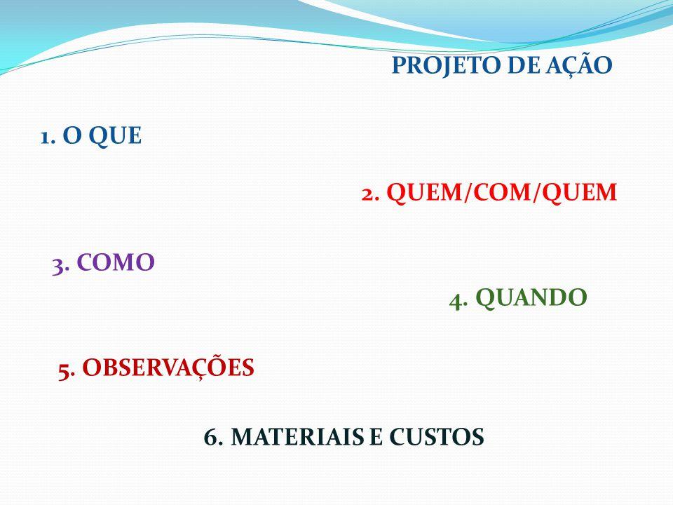 PROJETO DE AÇÃO 1. O QUE 2. QUEM/COM/QUEM 3. COMO 4. QUANDO 5. OBSERVAÇÕES 6. MATERIAIS E CUSTOS