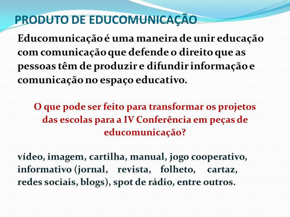 PRODUTO DE EDUCOMUNICAÇÃO Educomunicação é uma maneira de unir educação com comunicação que defende o direito que as pessoas têm de produzir e difundi
