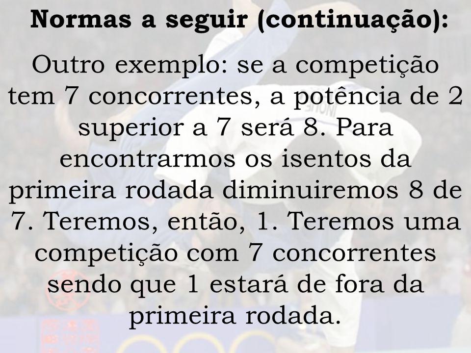 Normas a seguir (continuação): Outro exemplo: se a competição tem 7 concorrentes, a potência de 2 superior a 7 será 8. Para encontrarmos os isentos da