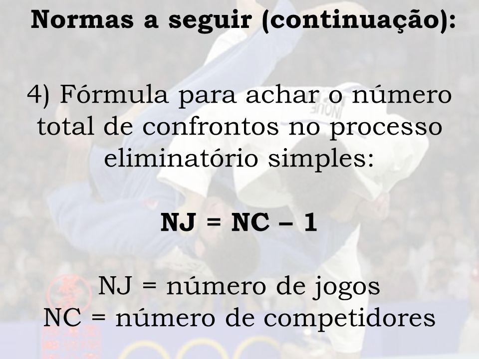 Normas a seguir (continuação): 4) Fórmula para achar o número total de confrontos no processo eliminatório simples: NJ = NC – 1 NJ = número de jogos N