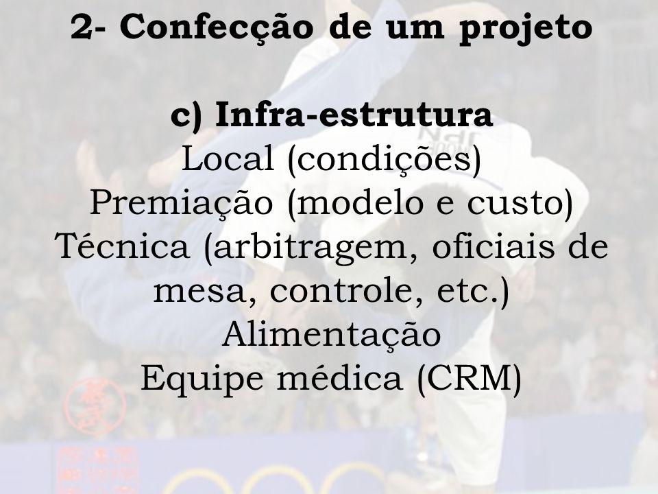 2- Confecção de um projeto c) Infra-estrutura Local (condições) Premiação (modelo e custo) Técnica (arbitragem, oficiais de mesa, controle, etc.) Alim