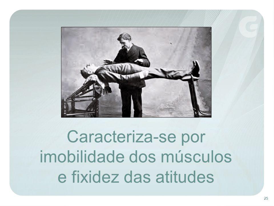 25 Caracteriza-se por imobilidade dos músculos e fixidez das atitudes