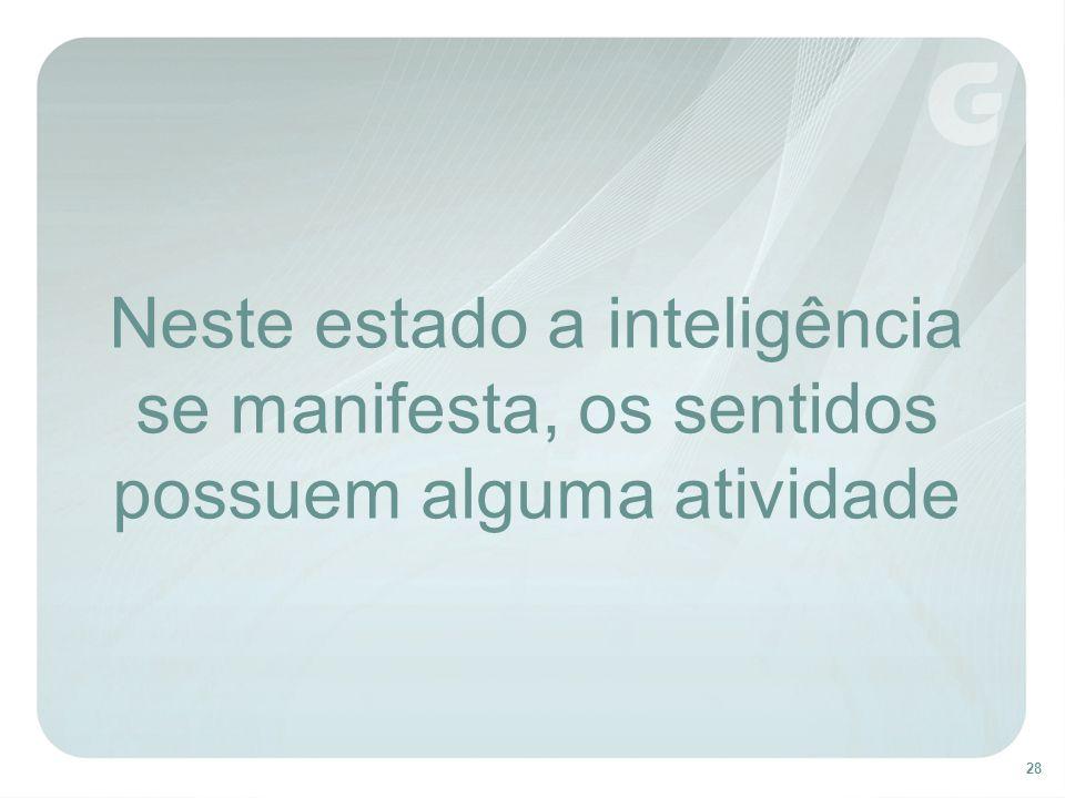 28 Neste estado a inteligência se manifesta, os sentidos possuem alguma atividade