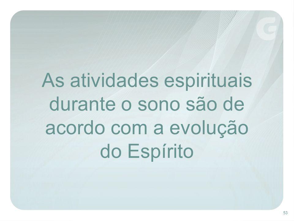 53 As atividades espirituais durante o sono são de acordo com a evolução do Espírito