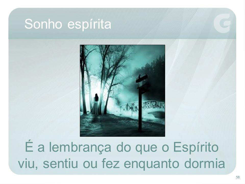 58 Sonho espírita É a lembrança do que o Espírito viu, sentiu ou fez enquanto dormia