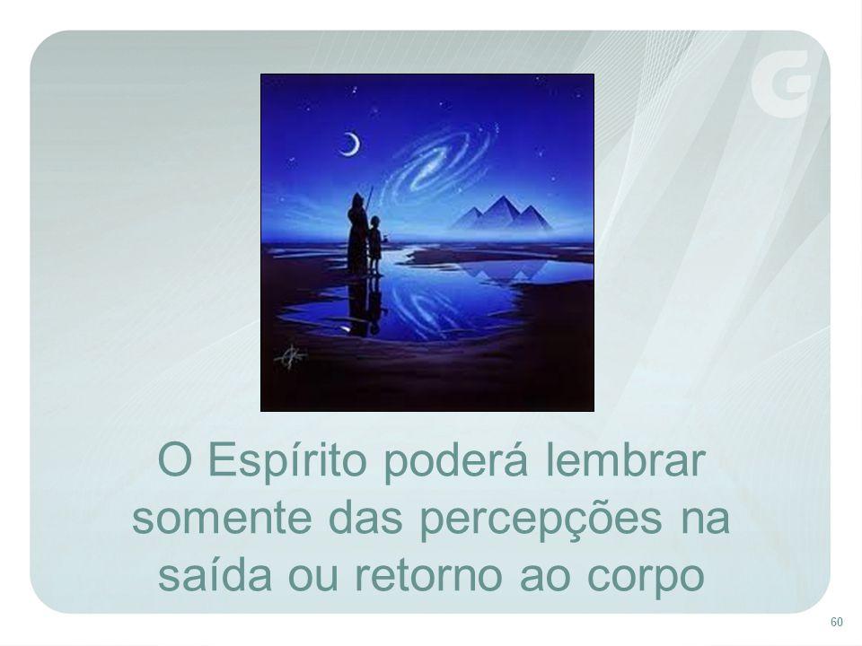 60 O Espírito poderá lembrar somente das percepções na saída ou retorno ao corpo