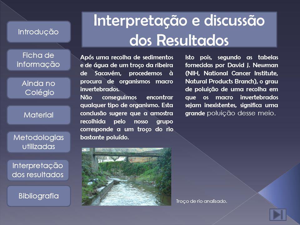 Interpretação e discussão dos Resultados Após uma recolha de sedimentos e de água de um troço da ribeira de Sacavém, procedemos à procura de organismos macro invertebrados.