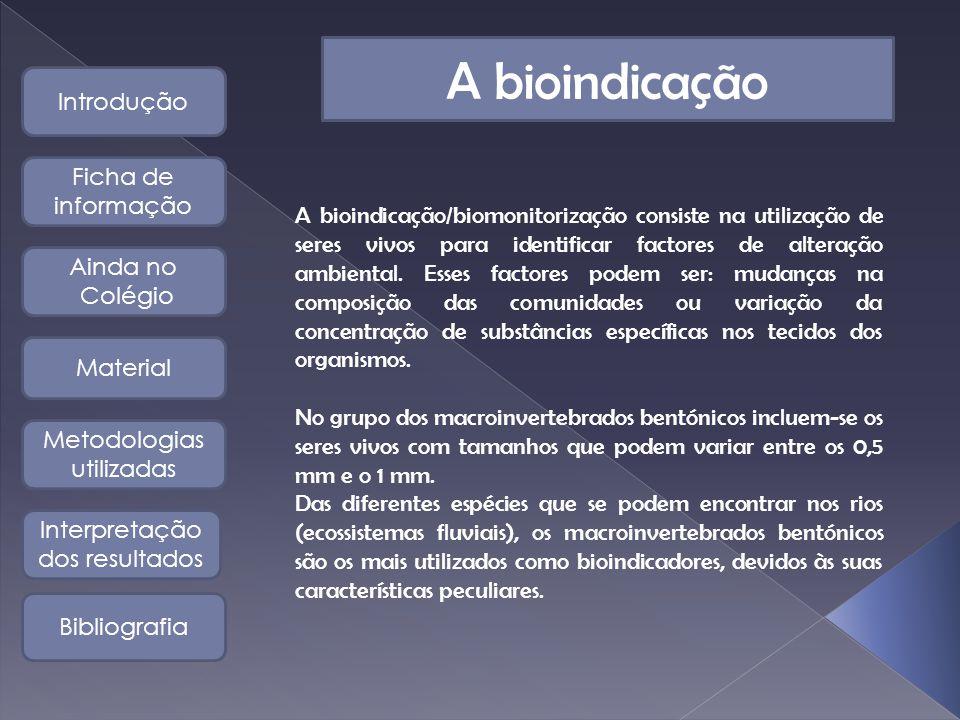A bioindicação Introdução Bibliografia Interpretação dos resultados Metodologias utilizadas Material Ficha de informação Ainda no Colégio A bioindicação/biomonitorização consiste na utilização de seres vivos para identificar factores de alteração ambiental.