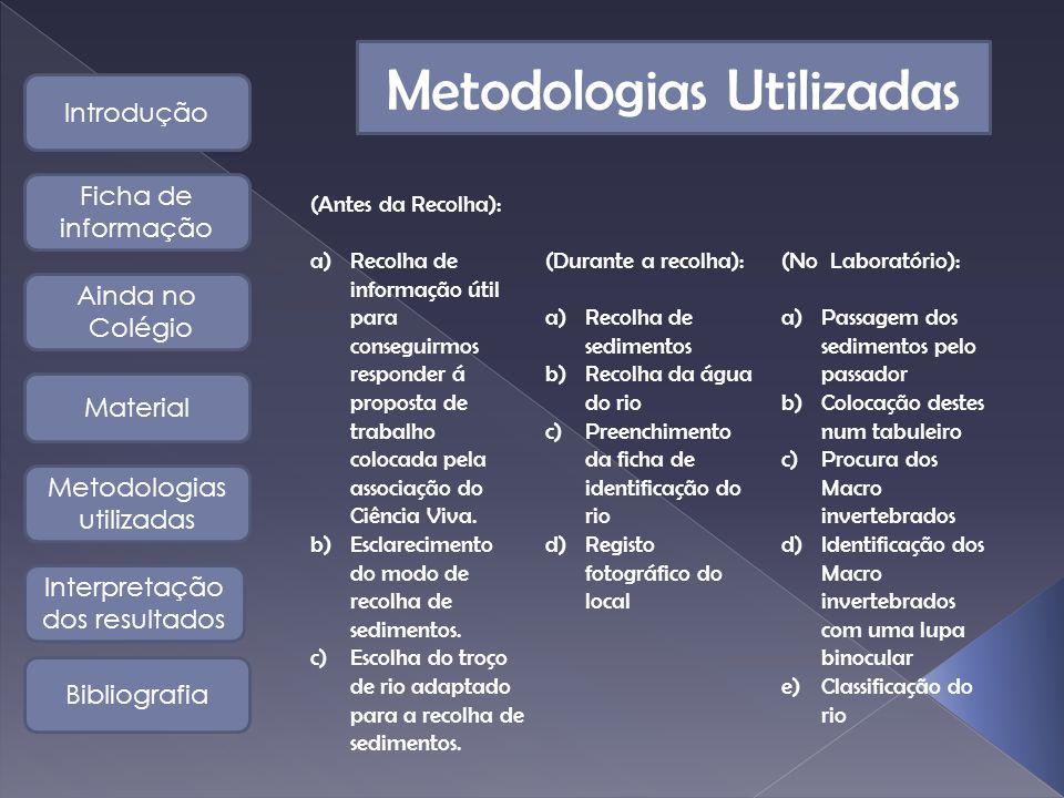 Metodologias Utilizadas (Antes da Recolha): a)Recolha de informação útil para conseguirmos responder á proposta de trabalho colocada pela associação do Ciência Viva.