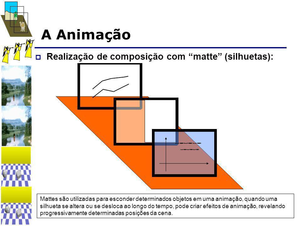 """A Animação  Realização de composição com """"matte"""" (silhuetas): Mattes são utilizadas para esconder determinados objetos em uma animação, quando uma si"""