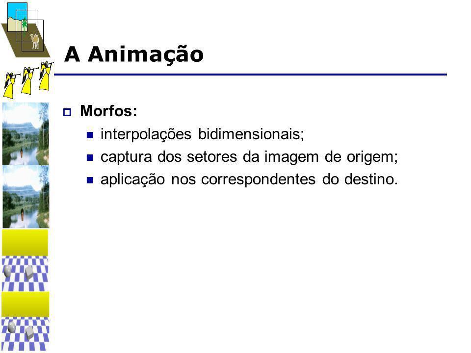 A Animação  Morfos:  interpolações bidimensionais;  captura dos setores da imagem de origem;  aplicação nos correspondentes do destino.